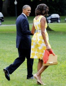 Michelle Obama with Barack in Talbots Dress