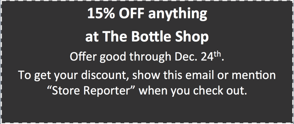 The Bottle Shop 2015 holiday coupon for web
