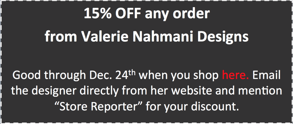 Valerie Nahmani Designs 2015 holiday coupon for web