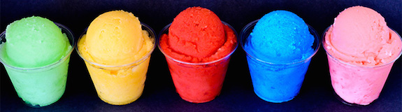 Carmen's Italian Ice five flavors in a row
