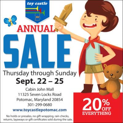 Toy Castle Annual Sale ad: https://www.facebook.com/toycastlepotomac/?fref=ts