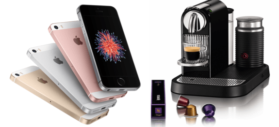 iPhones and Nespresso machine