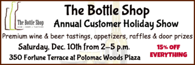 The Bottle Shop Annual Customer Holiday Show: https://www.facebook.com/TheBottleShopRockville/?hc_ref=SEARCH&fref=nf