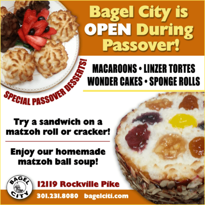 Bagel City is open during Passover: http://bagelciti.com
