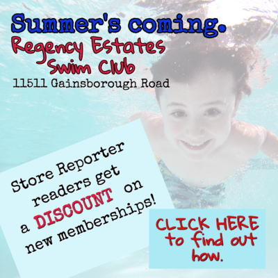 For information about a discount at Regency Estates Swim Club, email publisher@storereporter.com