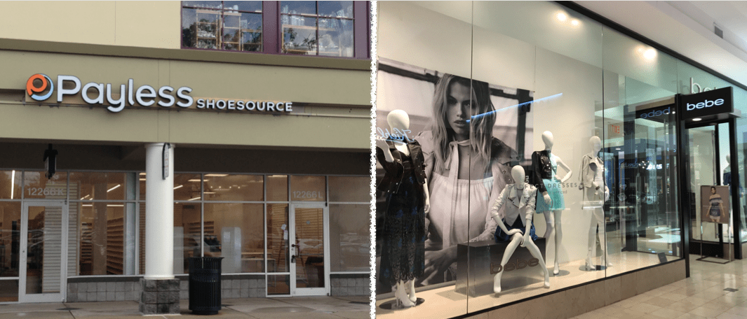 Payless in Rockville and Bebe at Westfield Montgomery Mall