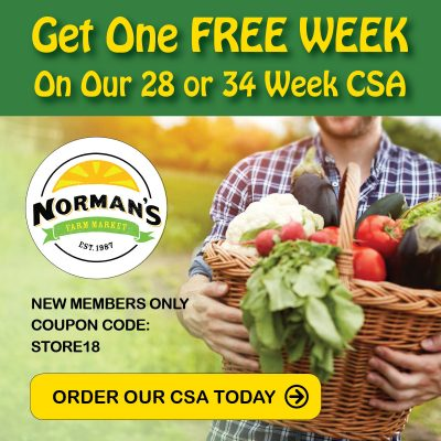 Get one Free Week at Norman's Farm Market CSA with code STORE18: http://normansfarmcsa.csasignup.com/members/types