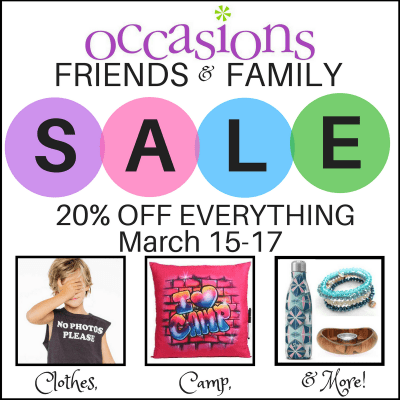 Occasions Friends & Family Sale: https://www.facebook.com/events/2018305378385864/
