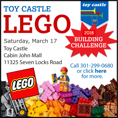 Toy Castle Lego Building Challenge: https://www.facebook.com/toycastlepotomac/