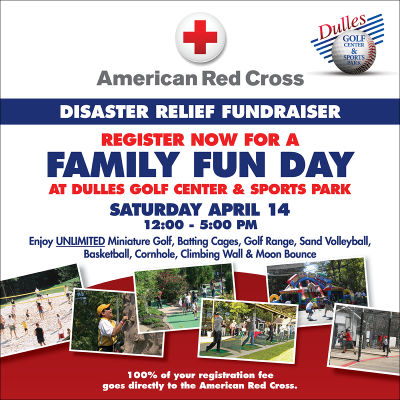 American Red Cross Family Fun Day at Dulles Golf Center & Sports Park: https://www.cvent.com/c/express/0df22cf5-9539-4fc5-b1a7-45771732a4de