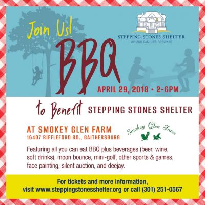 Spring BBQ for the Stepping Stones Shelter: Stepping Stones Shelter Spring BBQ: http://steppingstonesshelter.org/events/2018-spring-bbq-fundraiser/